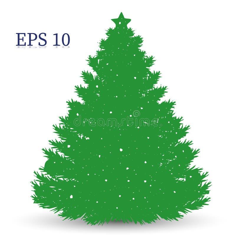 Borrachín del árbol de navidad, silueta verde en el fondo blanco, stock de ilustración