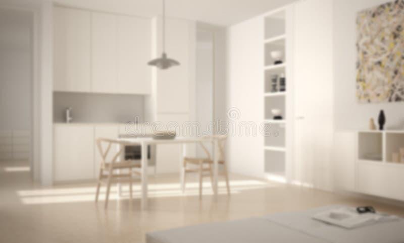Borre o design de interiores do fundo, a cozinha brilhante moderna minimalista com mesa de jantar e as cadeiras, janelas grandes, ilustração do vetor
