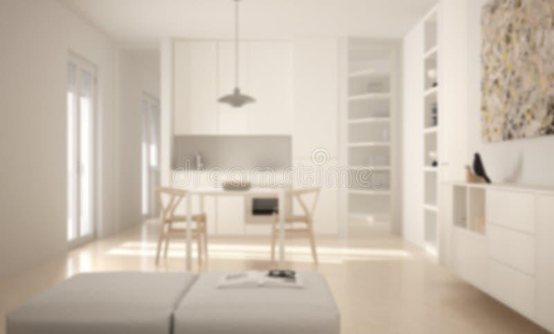 Borre o design de interiores do fundo, a cozinha brilhante moderna minimalista com mesa de jantar e as cadeiras, janelas grandes, ilustração royalty free