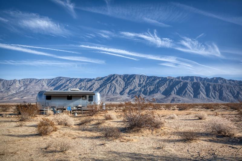 Borrego Springs Airstream Camper parked in the California Desert. A classic Airstream Trailer parked in the open desert near Borrego Springs CA stock images