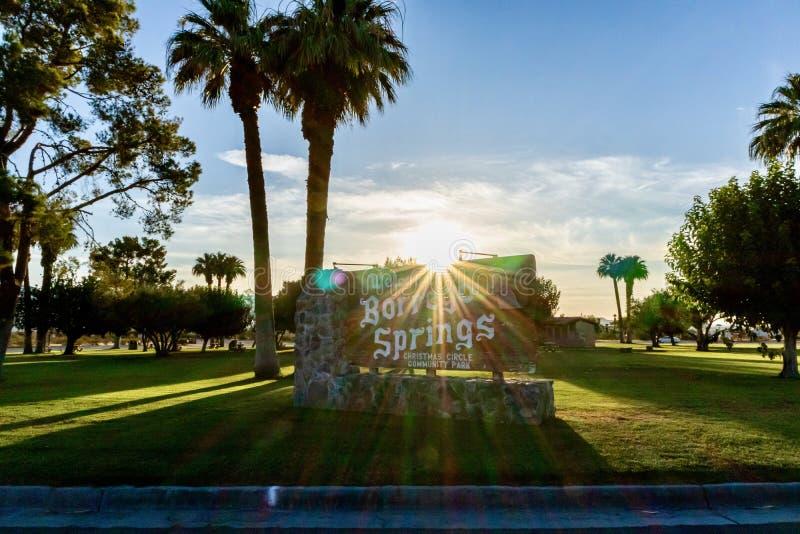 Borrego Springs välkommet tecken arkivbild