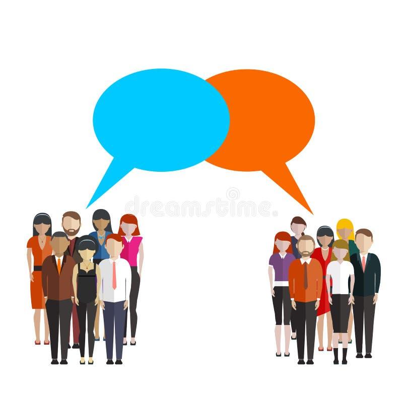 Borrelt de opinieonderzoek vlakke illustratie van twee groepen mensen en toespraak tussen hen vector illustratie