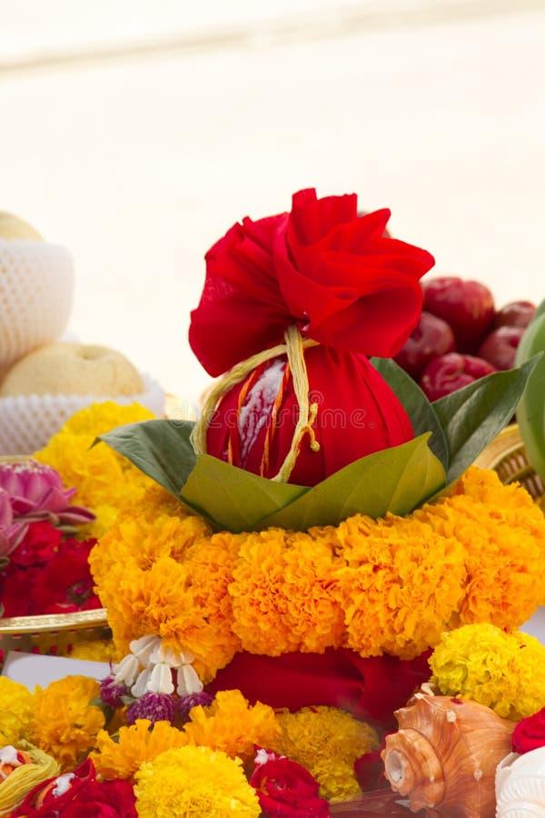 Borrou a cerimônia dos brâmanes com deus Genesha de india foto de stock royalty free