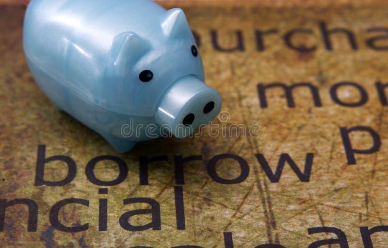Borrow and piggy bank. A Borrow and piggy bank stock photography