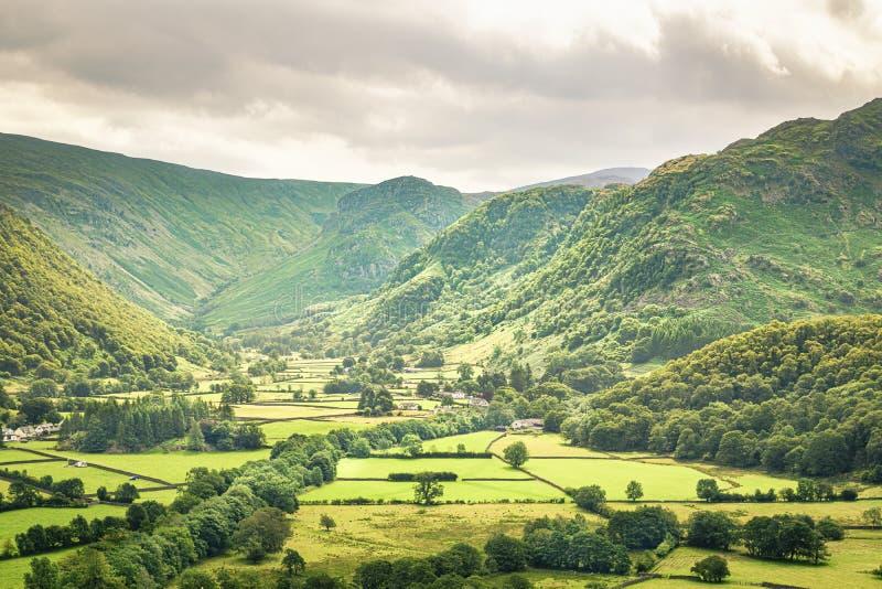Borrowdale Valley från Castle Crag arkivbilder