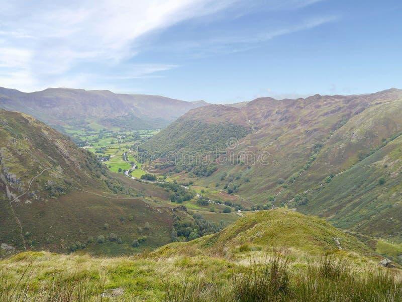 Borrowdale van Eagle Crag-gebied, Meerdistrict wordt gezien dat royalty-vrije stock foto
