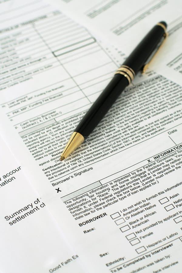 Borrower's Signature Vertical stock photos