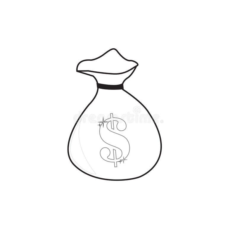 Borsa dei soldi del disegno a tratteggio fotografia stock libera da diritti