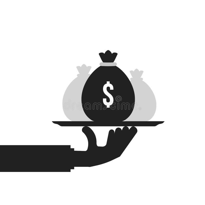 Borsa dei soldi della tenuta della mano nera sul piatto illustrazione vettoriale