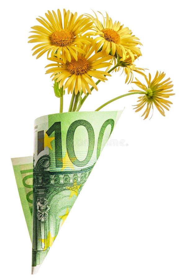 Borsa del biglietto su cento euro con la camomilla gialla fotografia stock libera da diritti