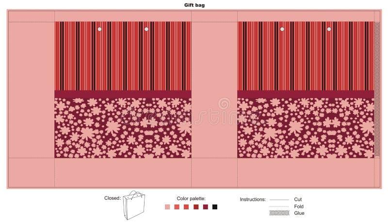 Borsa del regalo con struttura rossa illustrazione vettoriale