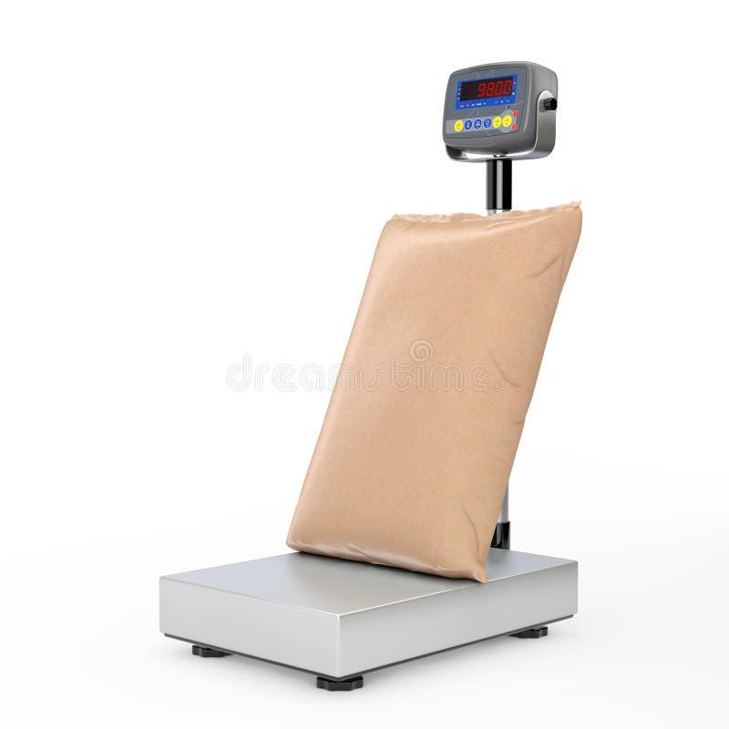 Borsa del sacco della carta in bianco di Brown sopra le scale del carico di Digital del magazzino rappresentazione 3d illustrazione vettoriale