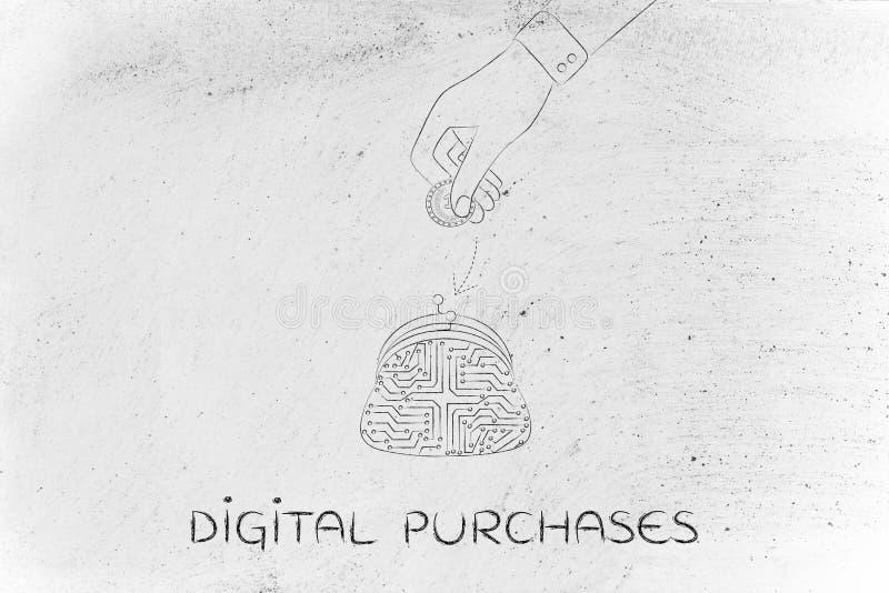 Borsa della moneta del circuito elettronico e soldi cadenti della mano dentro fotografia stock