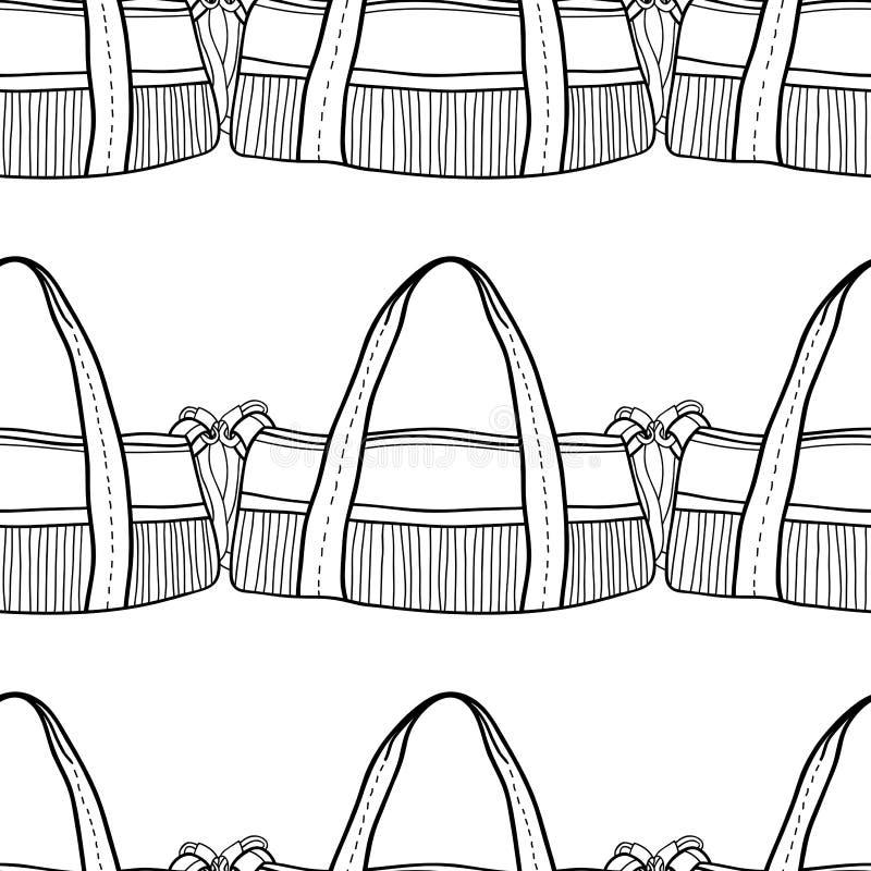 Borsa delle donne di modo per il libro da colorare Modello senza cuciture in bianco e nero degli accessori alla moda Vettore illustrazione di stock