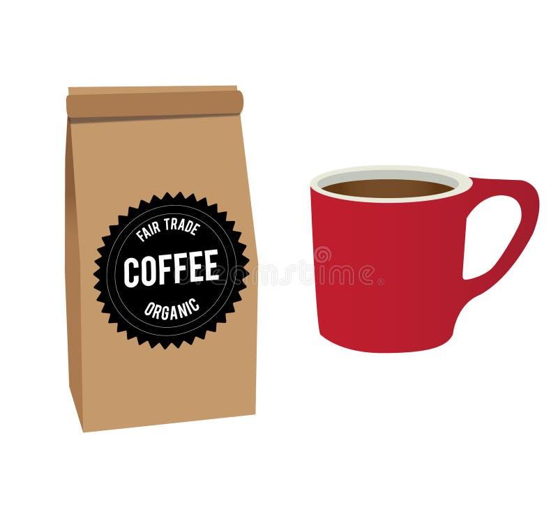 Borsa di caffè e della tazza fotografia stock libera da diritti