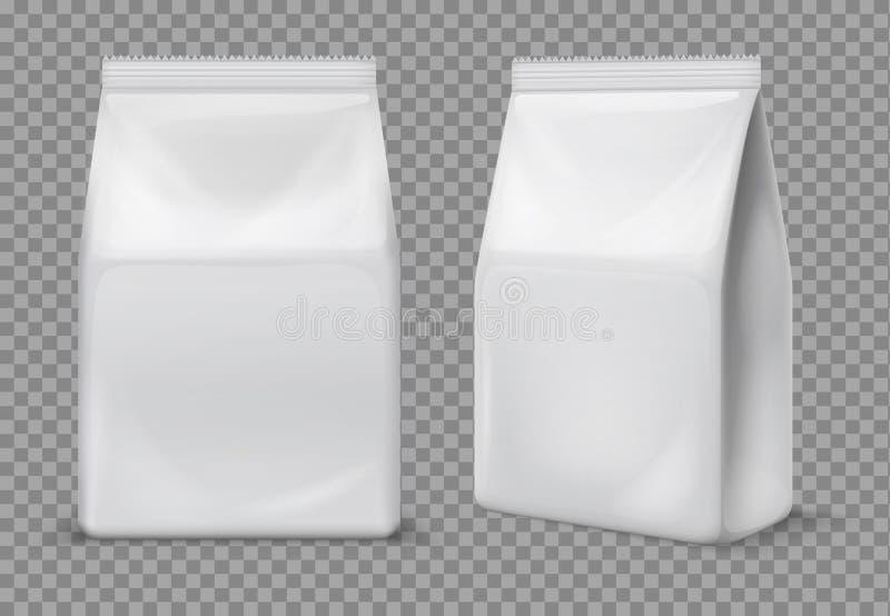 Borsa di carta dello spuntino Bustina bianca in bianco dell'alimento, imballante modello isolato pacchetto della stagnola di vett illustrazione di stock
