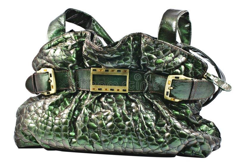 Borsa di cuoio verde fotografie stock