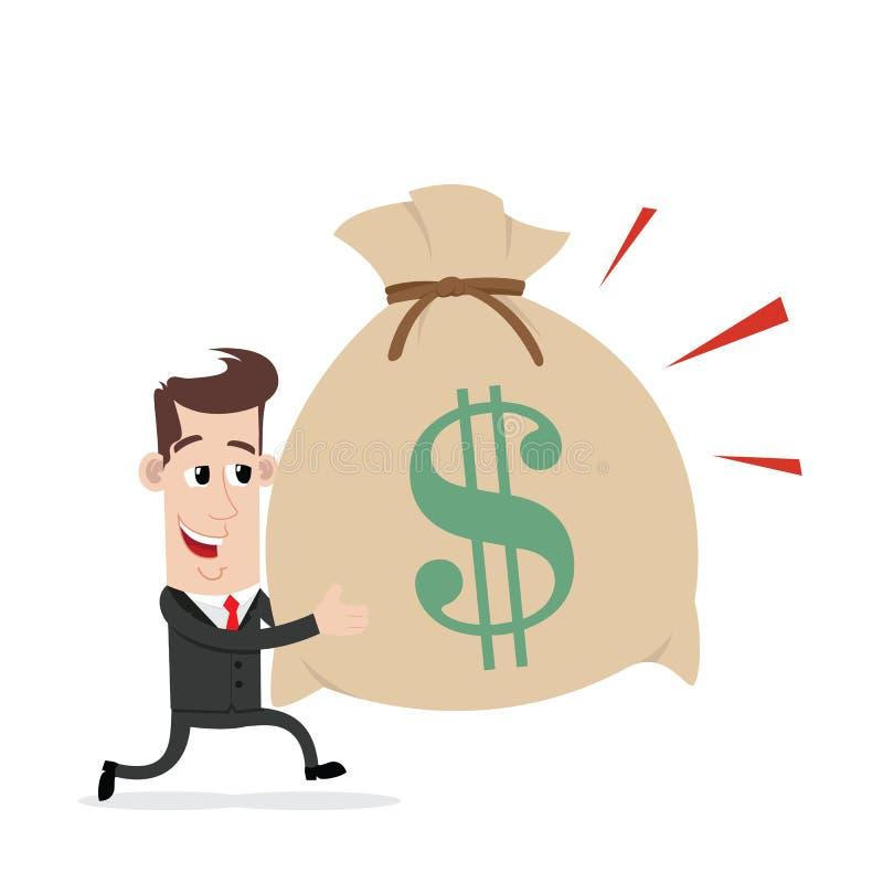 Borsa di funzionamento e di trasporto dell'uomo d'affari di soldi illustrazione di stock