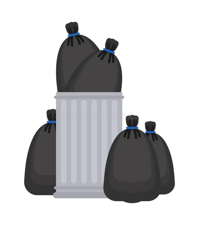 Borsa di immondizia e di cestino Pattumiera e sacco nero illustrazione di vettore del recipiente dei rifiuti illustrazione di stock