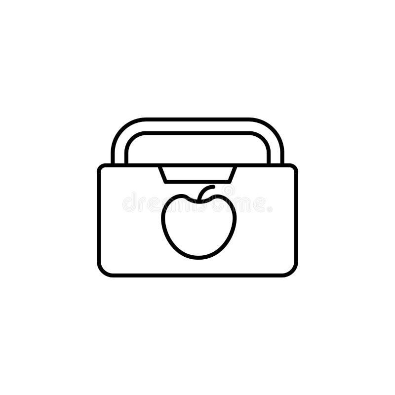 borsa di scuola dell'icona dell'alimento Elemento dell'icona di web per il concetto mobile royalty illustrazione gratis