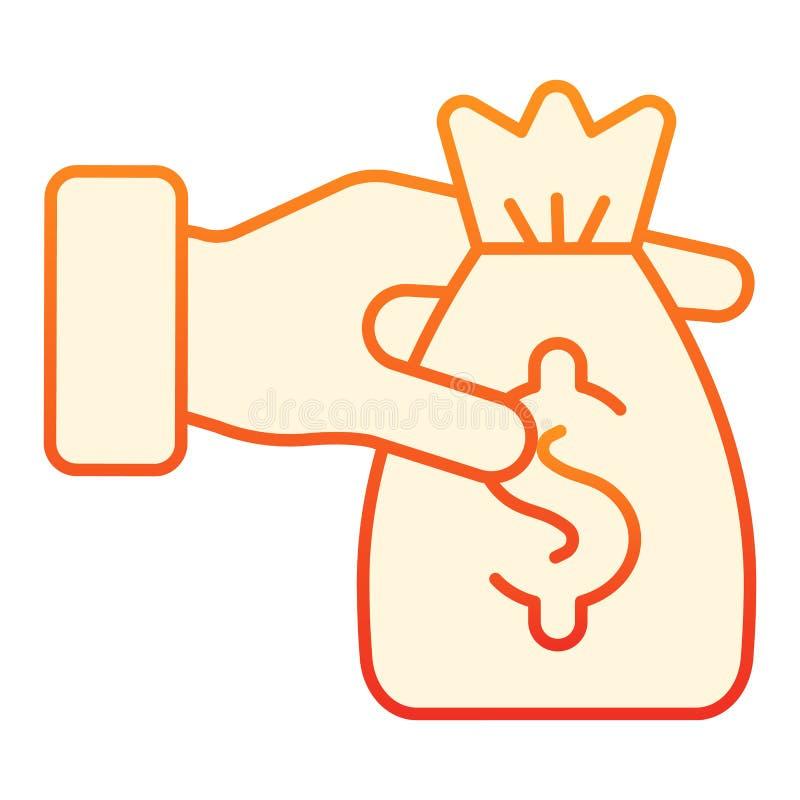 Borsa di soldi nell'icona piana delle mani Icone arancio di donazione nello stile piano d'avanguardia Progettazione di stile di p royalty illustrazione gratis
