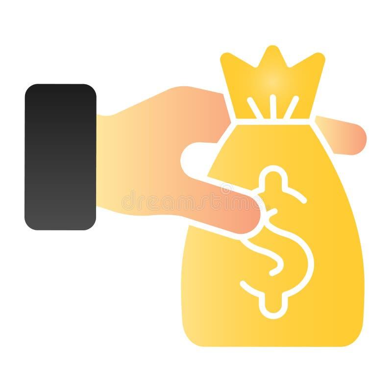 Borsa di soldi nell'icona piana delle mani Icone di colore di donazione nello stile piano d'avanguardia Progettazione di stile di royalty illustrazione gratis