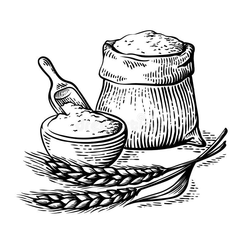 Borsa di tela da imballaggio con il mestolo di legno del piatto della farina fresca su fondo bianco illustrazione di stock