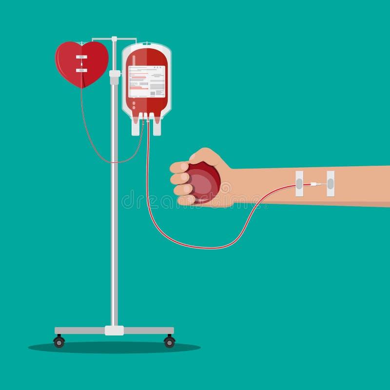 Borsa e cuore del sangue al supporto, mano del donatore royalty illustrazione gratis