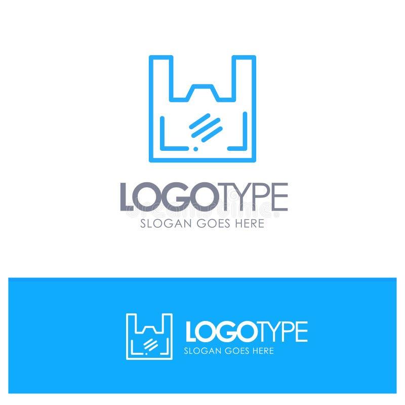Borsa, ecologia, plastica, cliente, profilo blu Logo Place del supermercato per il Tagline illustrazione di stock