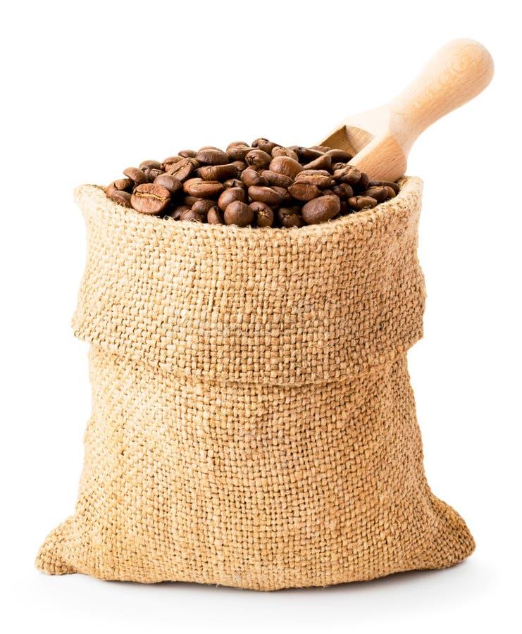Borsa piena dei chicchi di caffè e del primo piano di legno del cucchiaio su un fondo bianco fotografia stock libera da diritti
