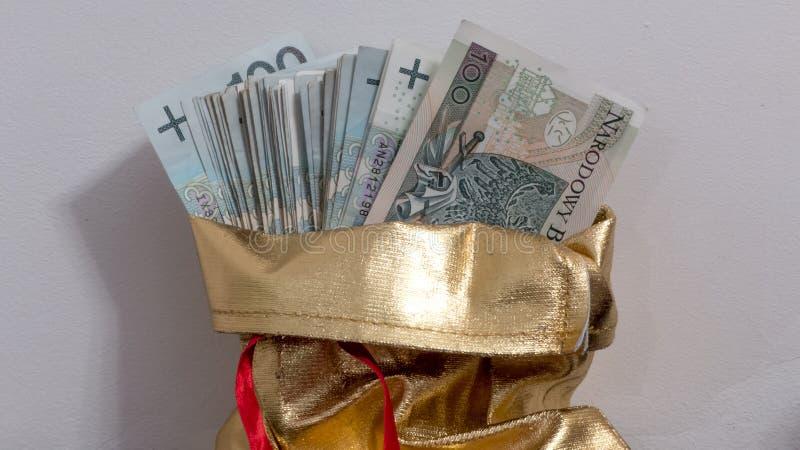 Borsa in pieno di soldi polacchi fotografia stock