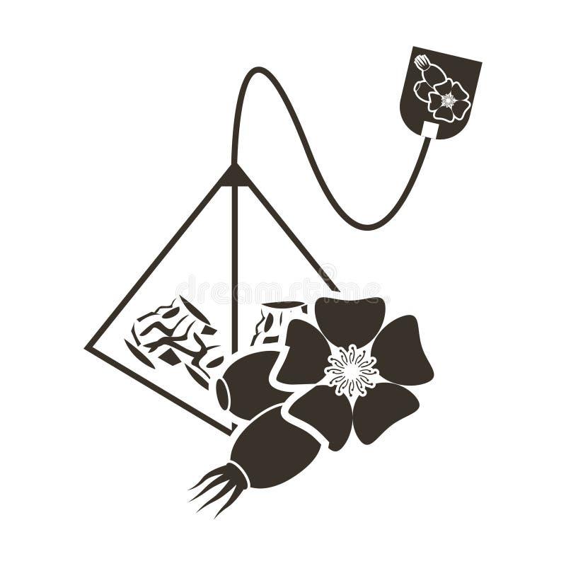 Borsa-piramide del tè dell'icona con un gusto della camomilla Logo nello stile piano immagine stock libera da diritti