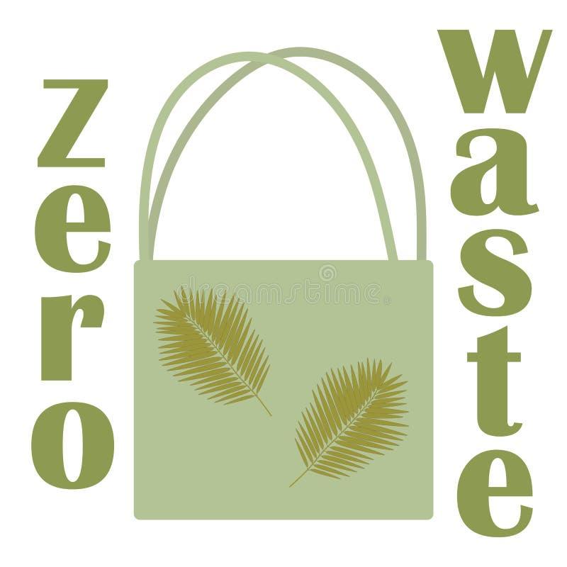 Borsa residua zero, grande progettazione per qualsiasi scopi Riciclaggio dell'illustrazione Illustrazione isolata di vettore Cons illustrazione vettoriale