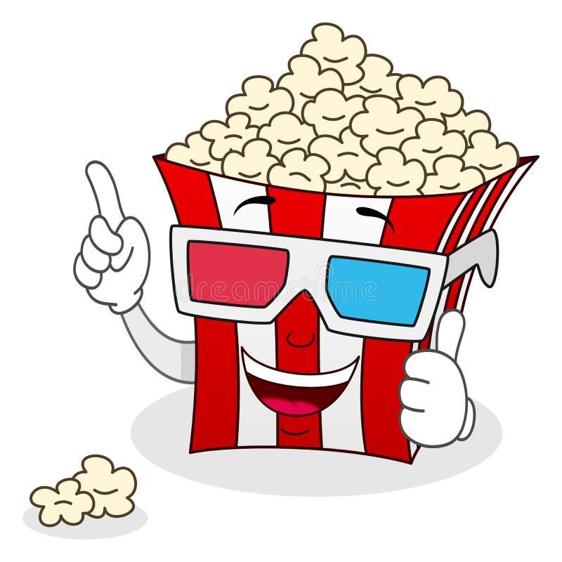 Borsa a strisce del popcorn con i vetri 3d illustrazione di stock