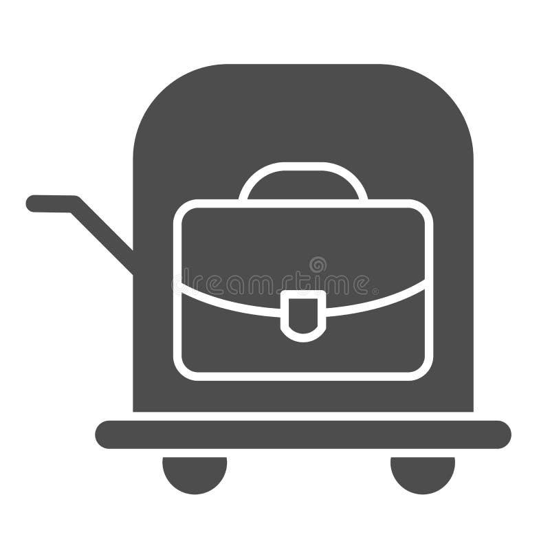 Borsa sull'icona solida del carrello Illustrazione di vettore del carretto dei bagagli isolata su bianco Valigia su progettazione royalty illustrazione gratis