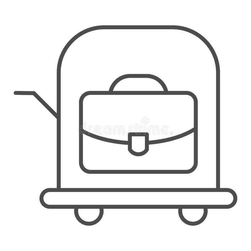 Borsa sulla linea sottile icona del carrello Illustrazione di vettore del carretto dei bagagli isolata su bianco Valigia su proge illustrazione vettoriale
