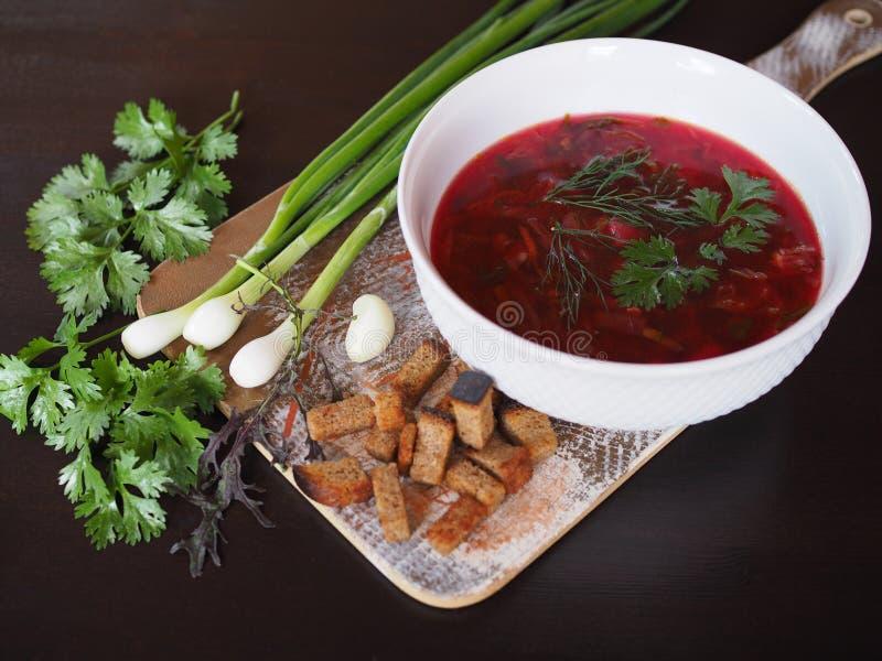 Borsch chaud de soupe aux oignons verts et à l'ail images stock