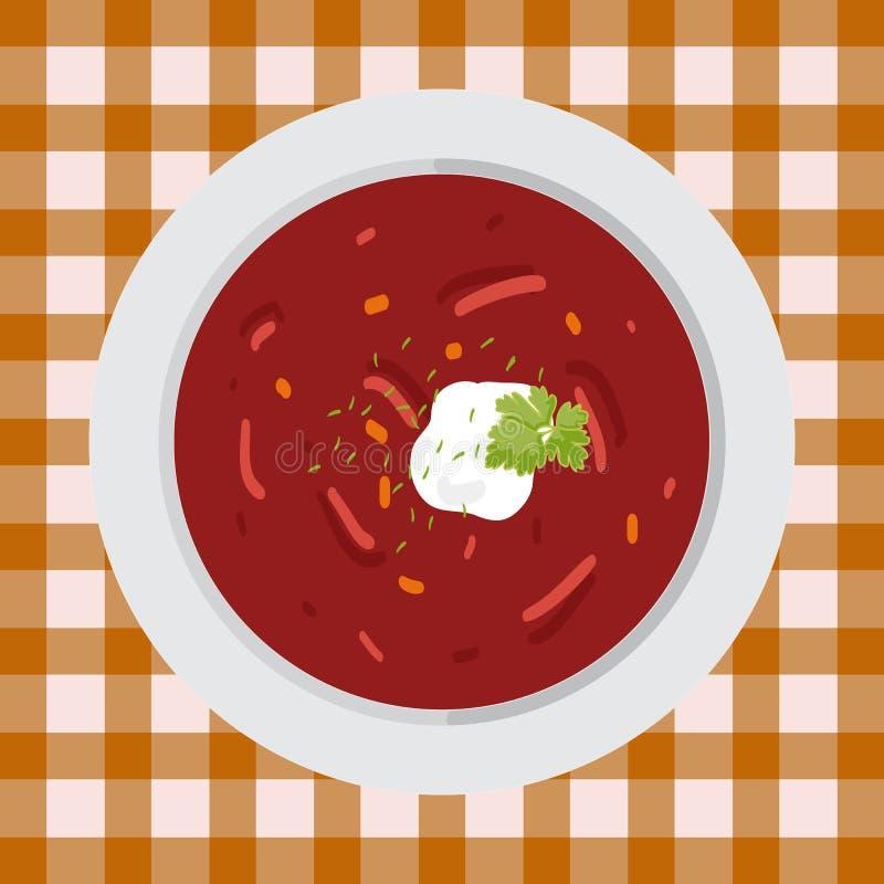Borsch della minestra con prezzemolo e panna acida immagini stock