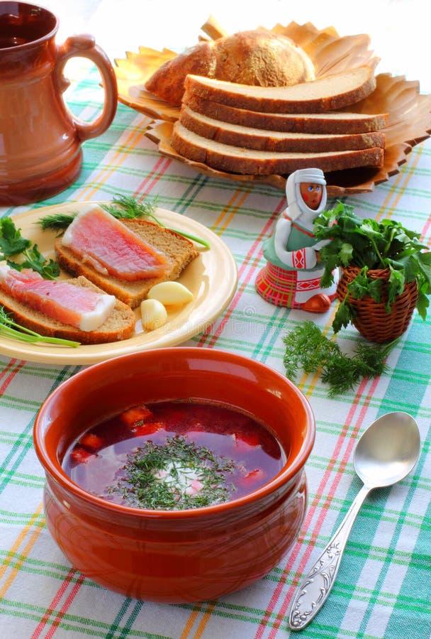 Borsch national d'Ukrainien et russe de cuisine photos libres de droits