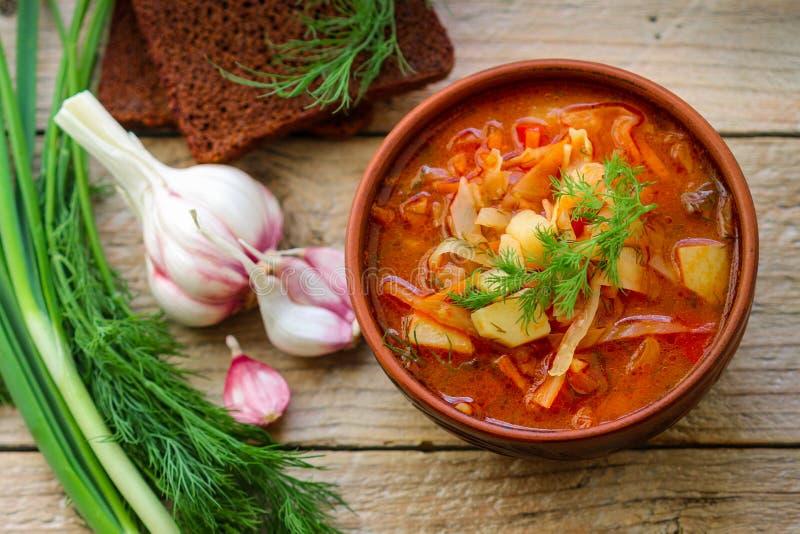 Borsch Sopa de verduras ucraniana tradicional hecha de las remolachas, zanahorias, tomates, patatas, col imagen de archivo libre de regalías