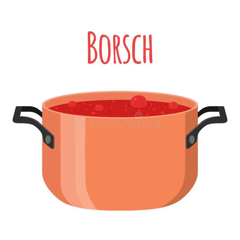 Borsch - sopa ucraniana roja con la remolacha, tomate, carne, remolacha, patata stock de ilustración