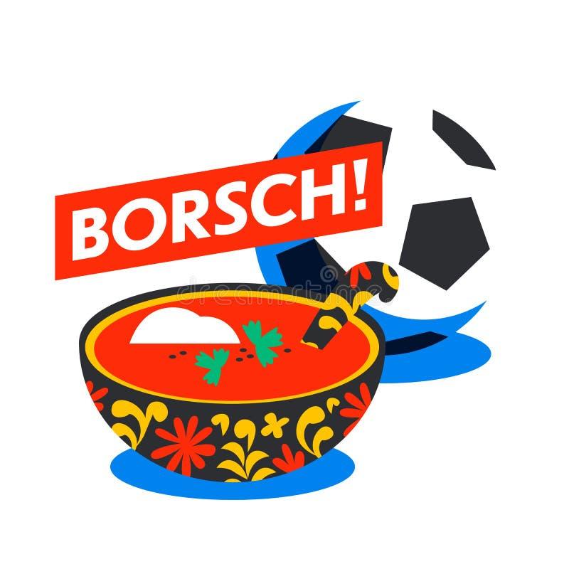Borsch tradicional ruso de la sopa Borscht de las remolachas Menú ruso stock de ilustración
