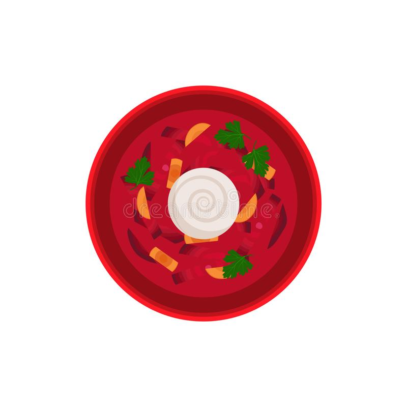 Borsch Traditional Dish Bowl Vector Illustration. Borsch traditional dish in bowl served with sour creme. Food made of vegetables and meat. Carrot and beetroots vector illustration