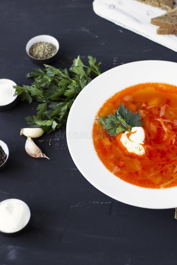 Borsch ucraniana tradicional do russo com creme de leite e os feijões brancos em um fundo escuro Sopa de beterrabas vegetal verme foto de stock