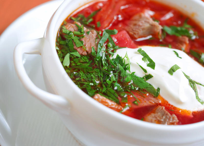 Borscht. Beetroot and cabbage soup stock images
