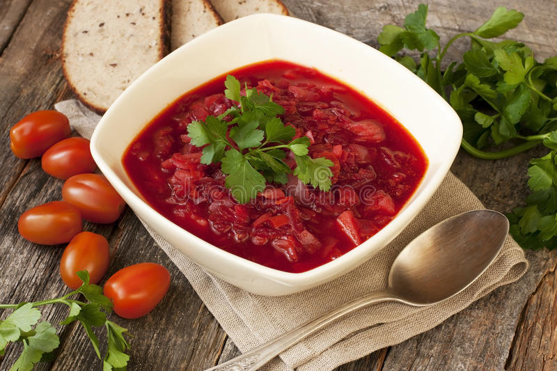 Borscht, beetroot soup royalty free stock image