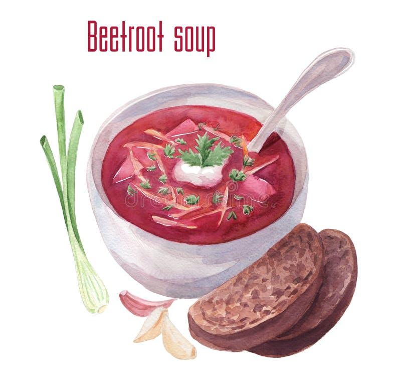 Borscht de la acuarela o sopa del borsch o de remolachas ilustración del vector