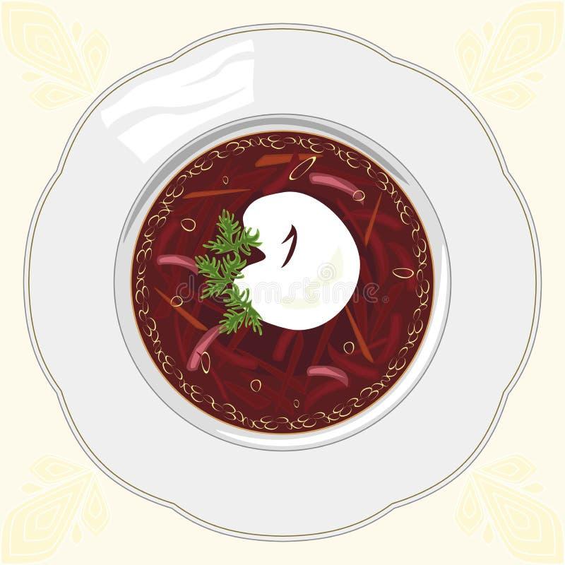 Borscht de la sopa en una placa blanca en un mantel imagen de archivo libre de regalías