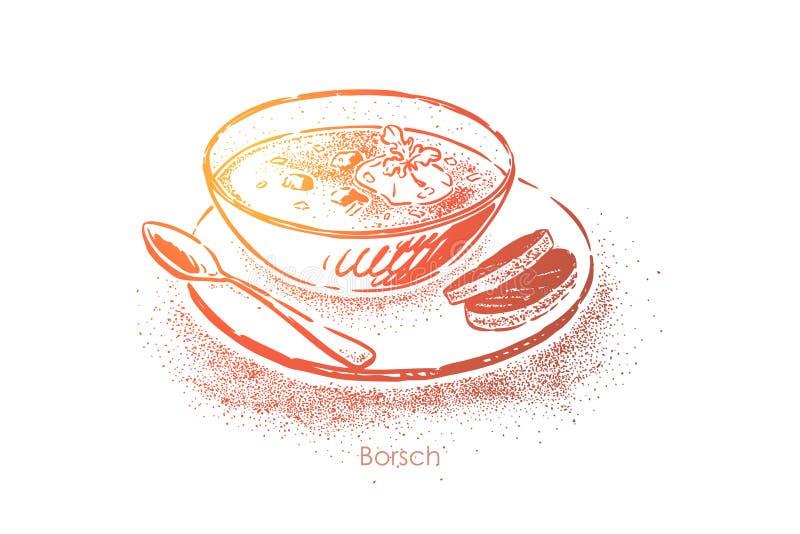 Borscht hecho en casa con la crema agria, ucraniano tradicional, plato ruso, cena deliciosa, cocina eslava nacional stock de ilustración