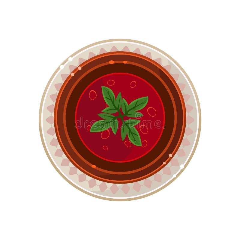 Borscht in una ciotola servita alimento Illustrazione di vettore royalty illustrazione gratis